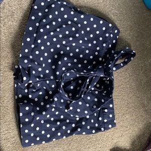 Zara Printed Polka Dot Shorts with Waist Tie